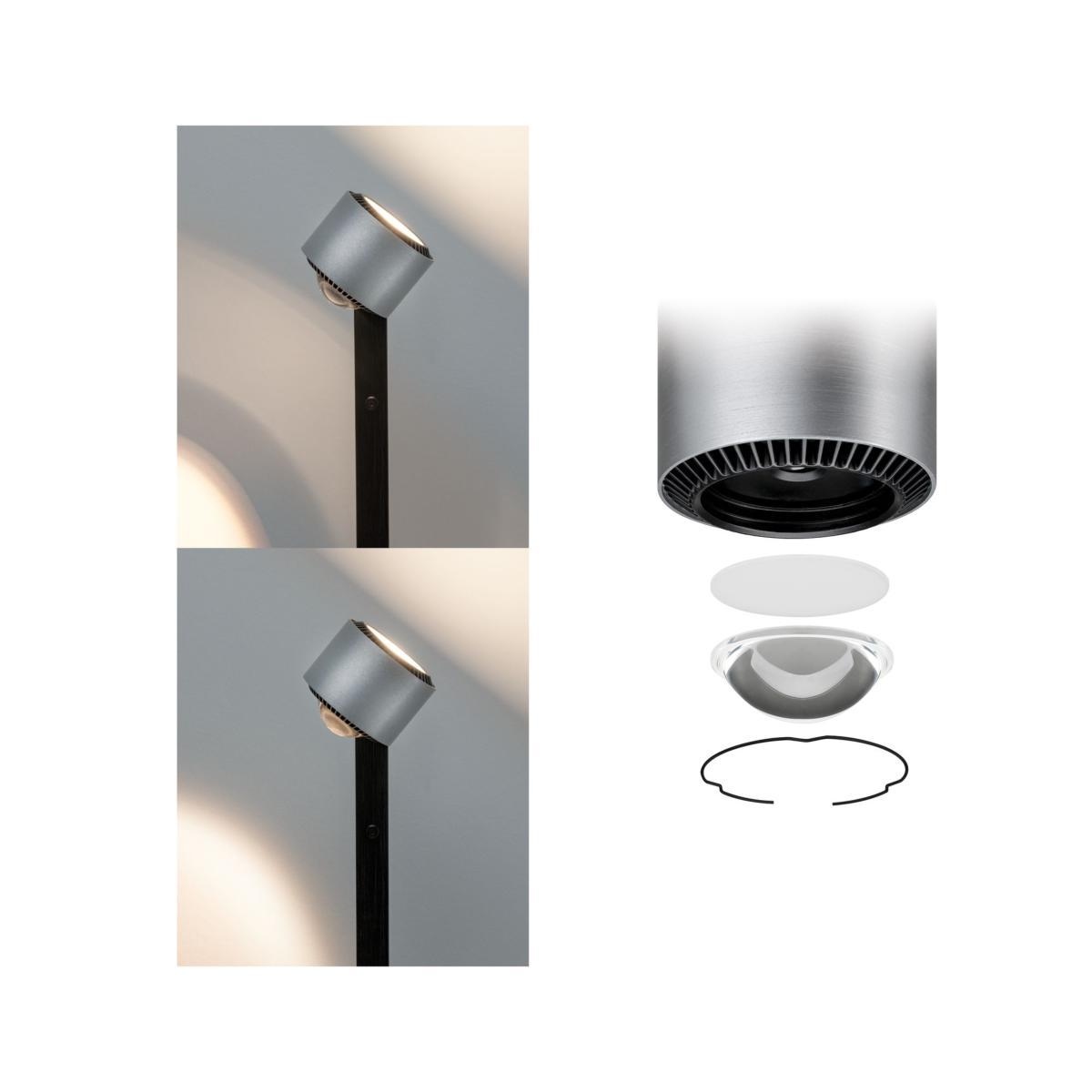 lampadaire led aldan 17w noir et alu brosse eclairage tableau