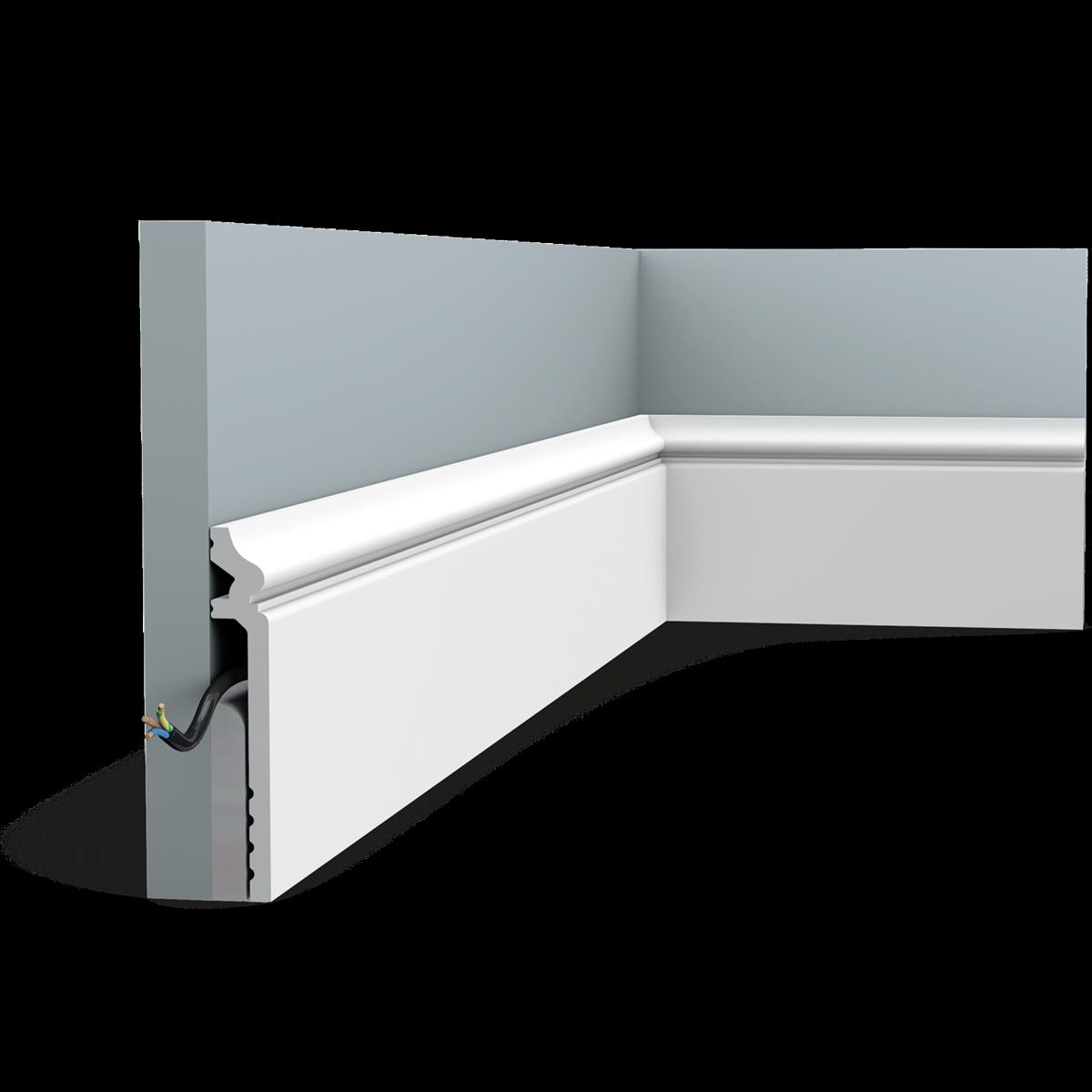 Corniche Polystyrène Pour Led sx186 contour surplinthe polymère orac decor axxent - 13,8x2,2x200cm (h x p  x l) plinthe décorative