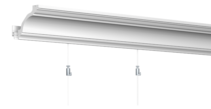 Cimaise Bois Decorative : Le d?co rail est compatible avec toute la gamme de corniche plafond