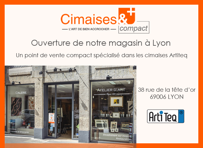 Photo diaporama accrochage tableau cimaise magasin Paris & Lyon
