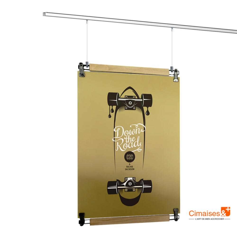 Crochet Pour Tableau Lourd kit accrochage plafond porte affiche poster pant + top rail (clips +  visserie) + fils et crochets