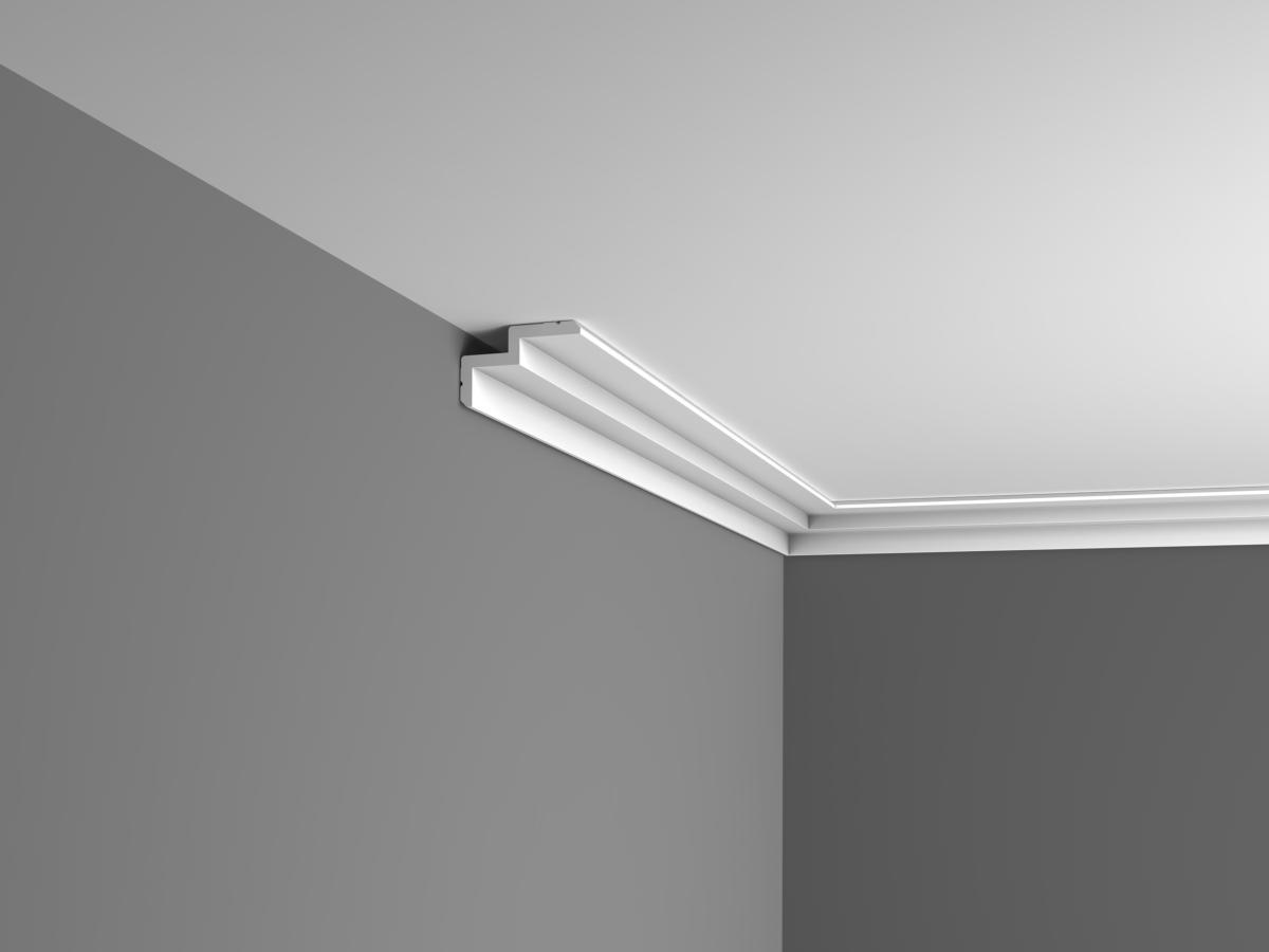 Corniche cache rail rideau et clairage indirect c390 for Decoupe angle corniche